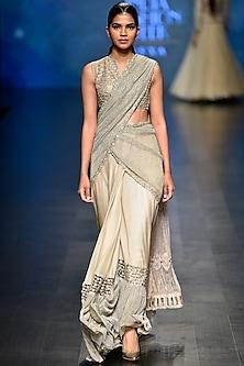 Pale Gold Crinkled Saree with Blouse Set by Rabani & Rakha