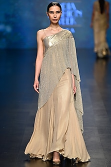 Pale Gold A-Line Embroidered Gown by Rabani & Rakha