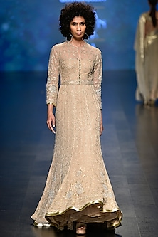 Pale Gold Sequins and Beads Embroidered Gown by Rabani & Rakha
