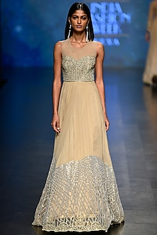 Gold Beads and Sequins Embroidered Gown by Rabani & Rakha