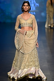 Gold Sequins and Beads Embellished Lehenga with Blouse Set by Rabani & Rakha