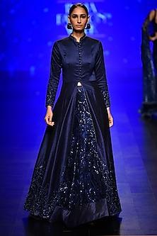 Blue Embroidered Lehenga with Long Jacket Set by Rabani & Rakha