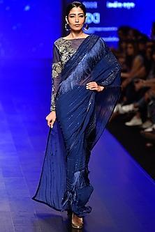 Blue Embroidered Tasseled Saree with Blouse Set by Rabani & Rakha