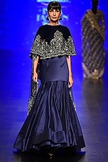 Blue Embroidered Asymmetric Cape and Yoke Skirt by Rabani & Rakha