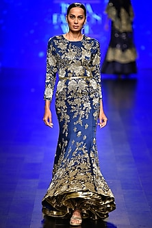 Blue Embroidered Trail Gown by Rabani & Rakha