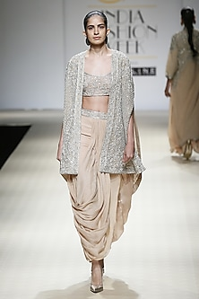 Honey Color and Silver Foil Embroidered Jacket, Cape, Trouser and Bustier Set by Rabani & Rakha