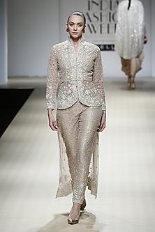 Sand Color Embroidered Peplum Tailcoat and Trouser Pants Set by Rabani & Rakha