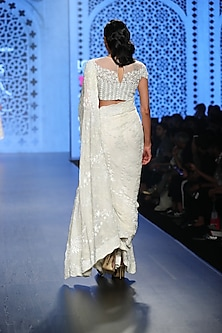 Ivory Pearl & Bead Embroidered Saree Set by Rabani & Rakha