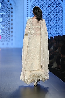 Ivory Embroidered Lace Sharara Set by Rabani & Rakha