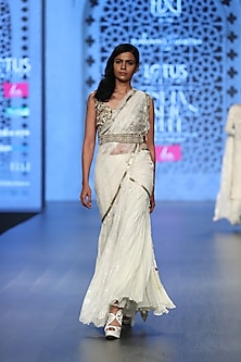 Ivory Embroidered Pre-Stitched Saree Set with Cape & Belt by Rabani & Rakha