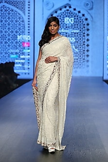Ivory Embroidered Saree Set by Rabani & Rakha