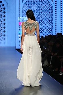 Ivory Roughed Tasseled Jumpsuit by Rabani & Rakha