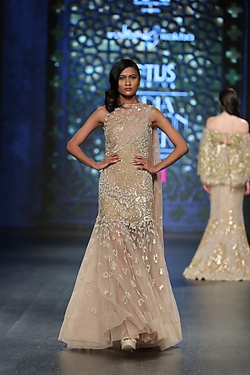 Gold Embroidered A-Line Jaal Gown by Rabani & Rakha