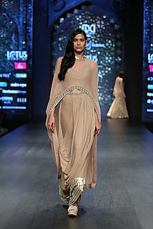 Gold Cape With Blouse & Dhoti Pants by Rabani & Rakha
