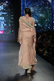 Gold Embroidered Pre-Stitched Saree Set by Rabani & Rakha
