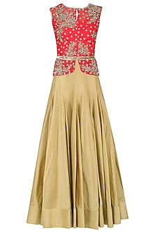Red Floral Embroidered Peplum Top and Skirt Set by Rabani & Rakha