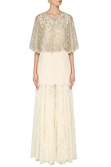 Ivory Lace Kurta, Sharara Pants and Embroidered Cape Set by Rabani & Rakha