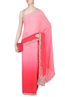 Pink Floral Embroidered Saree with Blouse by Rabani & Rakha