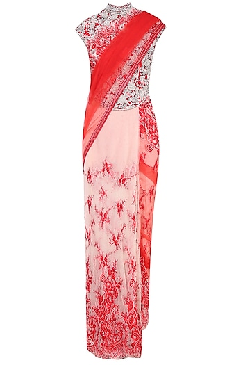 Red and Peach Floral Embroidered Saree with High Neck Blouse by Rabani & Rakha
