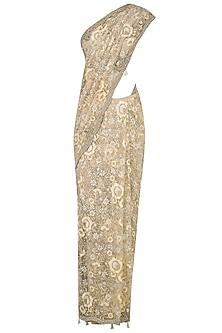Nude and Beige Floral Embroidered Saree with Jewel Neck Blouse by Rabani & Rakha