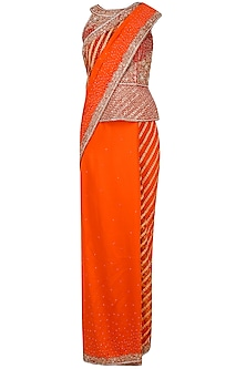 Orange Embroidered Saree with Peplum Blouse by Rabani & Rakha