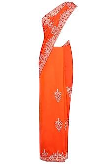 Orange Sequins Embellished Saree with Blouse by Rabani & Rakha