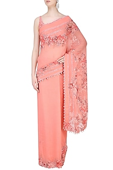 Peach Rosette Embroidered Saree with Blouse by Rabani & Rakha