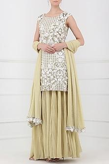 Ivory and Gold Embroidered Sharara Pants Set by Rabani & Rakha