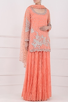 Peach Embroidered Lace Sharara Pants Set by Rabani & Rakha