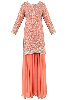 Peach Embroidered Sharara Pants Set by Rabani & Rakha