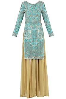 Turquoise and Beige Embroidered Sharara Pants Set by Rabani & Rakha