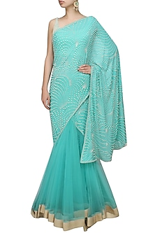 Aqua net pearl fern jaal drape kalidaar lehenga saree with tablet blouse by Rabani & Rakha