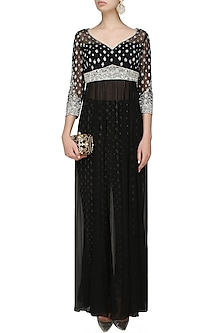 Black and silver embroiodered gown with fully embellished trousers by Rabani & Rakha