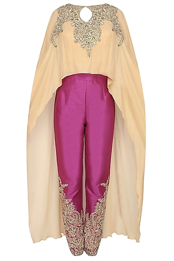 Gold jewel embroidered cape top with wine embellished trousers by Rabani & Rakha