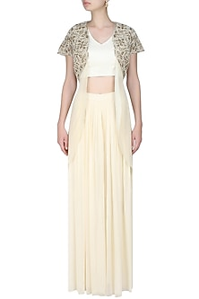 Ivory embroidered bolero with drape top and ivory pleated trousers by Rabani & Rakha