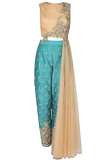 Gold jewel embroidered side palla top with turquoise trousers by Rabani & Rakha