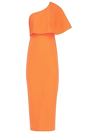 Orange One Shoulder Cape Dress by Rutu Neeva