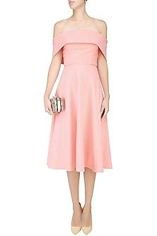 Blush Pink off Shoulder Flounce Dress by Rutu Neeva