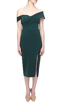 Deep green cross shoulder knee length dress by Rutu Neeva