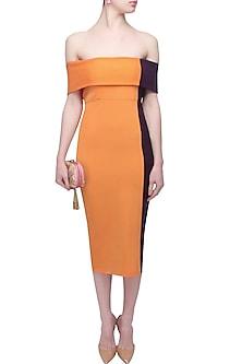 Orange and purple dual off shoulder dress by Rutu Neeva