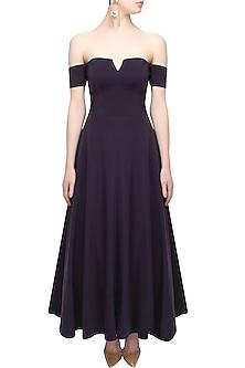 Purple heliotrope tea length off shoulder dress by Rutu Neeva