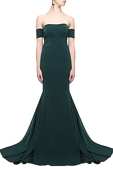 Green off shoulder detachable sleeved gown by Rutu Neeva