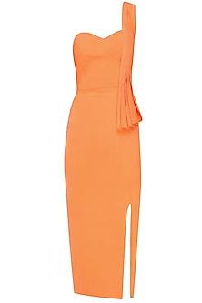Ornage off shoulder mandarin pleated dress by Rutu Neeva