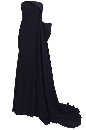 Midnight blue fish tail overlay gown by Rutu Neeva