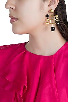 Gold Finish Black Onyx Stone Earrings by Rosa Damascena by Shreya Jindal
