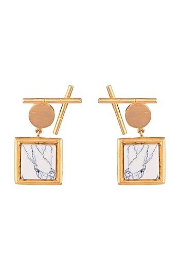 Gold Finish Howlite Stone Earrings by Rosa Damascena by Shreya Jindal