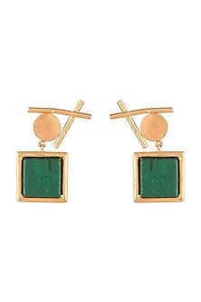 Gold Finish Malachite Stone Earrings by Rosa Damascena by Shreya Jindal