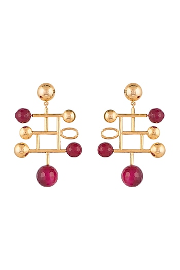 Gold Finish Maroon Onyx Stone Earrings by Rosa Damascena by Shreya Jindal