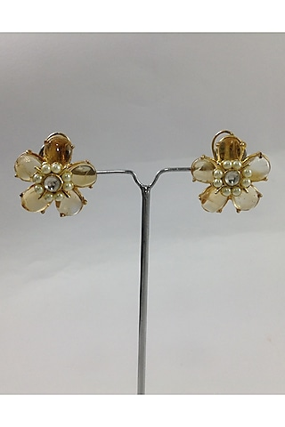 Gold Finish Topaz Stud Earrings by Rohita And Deepa