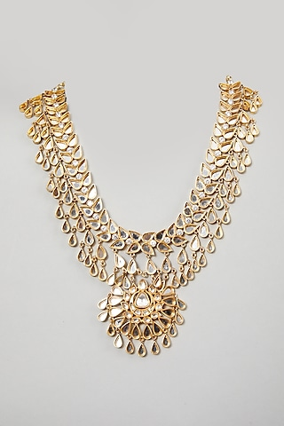 Gold Finish Mirror Necklace by Rohita and Deepa
